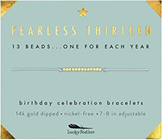Lucky Feather Gifts for 13 Year Old Girl; 13th Birthday Bracelet with 13 Dainty 14K Gold Dipped Beads on Adjustable Cord; Bat Mitzvah Gift