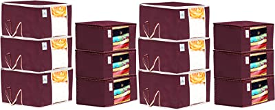 Kuber Industries Non Woven 6 Pieces Saree Cover and 6 Pieces Underbed Storage Bag, Cloth Organizer for Storage, Blanket Cover Combo Set (Maroon) -CTKTC38462