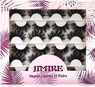JIMIRE 12 Pairs False Eyelashes Mega Volume Fluffy Long Faux Mink Lashes Pack