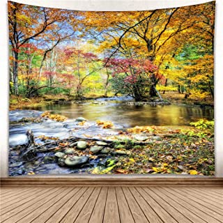 YISURE Nature Tree Wall Hanging Tapestry Hippie Wallpaper Green Live Scenery Forest Blanket for Bathroom Bedroom Window Living Room Dorm Art Decoration, Falling Leaves, Large Size 108x81 Inch