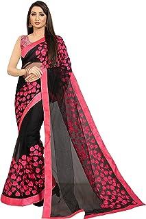 Neerav Exports Embroidery Net Work Saree (Black)