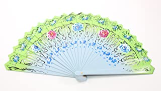 Blue-Green Double Sided Wooden Spanish Floral Print Design Hand Fan Party Decoration Gift