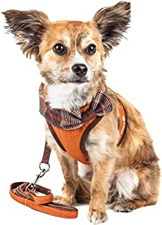 Pet Life Luxe 'Pawsh' 2-In-1 Mesh Reversed Adjustable Dog Harness-Leash W/ Fashion Bowtie