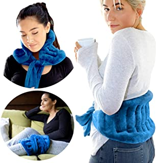 Extra Large Microwavable Heat Wrap - with Extra Long Straps for Lower Back Pain Relief, Heated Neck and Shoulder Wrap | Co...