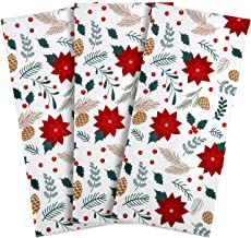 Colovis Polyester&Nylon Fabric Poinsettia Flowers Dish Towels, Kitchen Towels Set of 3 for Christmas Decoration, Christmas Kitchen Decor