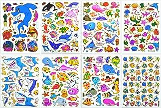 Seaworld Sticker Self-Adhesive Glitter Metallic Reflective Foil with Shark Whale Stingray Goldfish Clownfish Anglefish Puffers Fish Octopus Squid Jellyfish Crab Turtle Seahorse Snail (ST08-SEAWORLD)