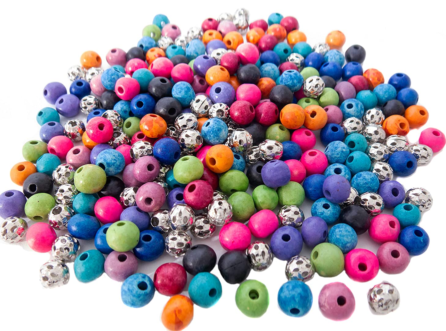 300 Ceramic Beads & 100 Silver Filigree Beads for Jewelry Making Supplies for Adults, 8mm Crafting Bead Kit, Essential Oil Diffuser Bracelet & Necklace DIY, 10 Colors, 2 Bracelets for Inspiration