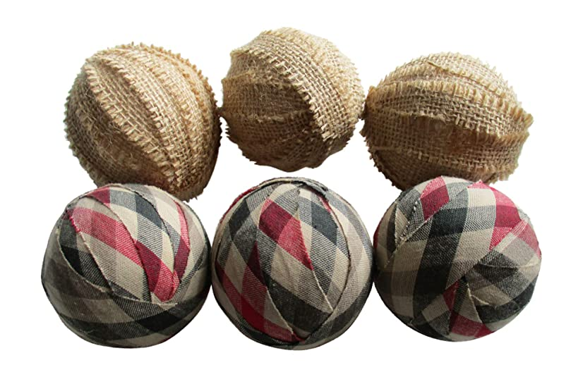 From The Attic Crafts Christmas Rag Balls in Red, Green and Tan Plaid Holiday Decor Bowl Fillers