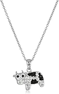 Collar con colgante de cristal bañado en plata, 45,7 cm