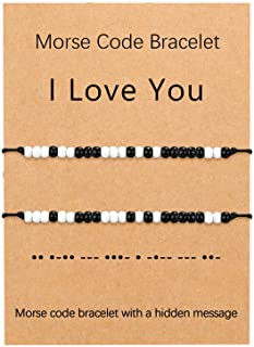 UNGENT THEM I Love You Morse Code سوار الأزواج مطابقة أساور العلاقة الخرز سوار مجموعة مجوهرات هدايا له ولها، الحبيب والصدي...