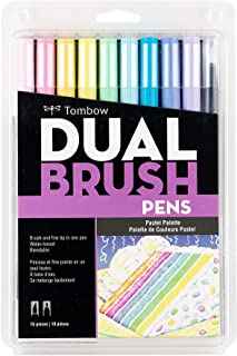 Tombow Dual Brush Pen Art Markers,10-Pack, 56187,1 Pack,Pastel