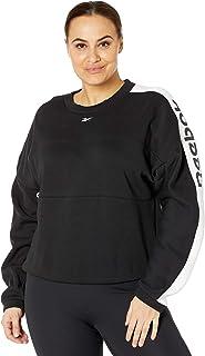 Reebok Workout Ready Meet You There Crewneck Sweatshirt, Black/White, XL