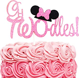 Twodles Cake Topper- Pink Glitter Minnie Inspired Cake Decor Girl Second Birthday Party Supplies