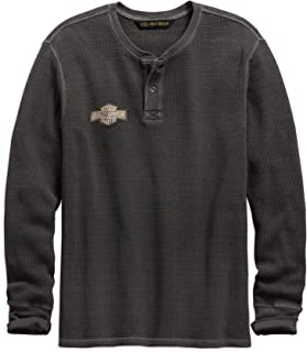 Men's Washed Waffle Knit Slim Fit Henley, Grey