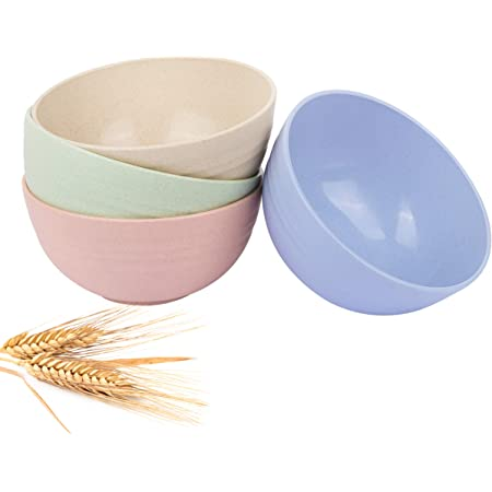Cereal Bowls - 26 OZ Unbreakable Wheat straw Bowls For Kitchen-Eco Friendly Durable Pack Of 4 Lightweight Bowl Set-Microwave And Dishwasher Safe-For Cereal, Rice, Noodle, Soup Bowls