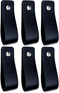 Tiradores de Cuero   Negro / 6 piezas   16,5 x 2,5 cm   Piel de Granos   3 tornillos de color - tiradores para Accesorio de Mobilario, armario, cajón, puerta