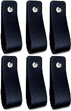 Brute Strength - Leren Handgrepen - Zwart - 6 stuks - 16,5 x 2,5 cm - incl. 3 kleuren schroeven per leren handvat voor keu...
