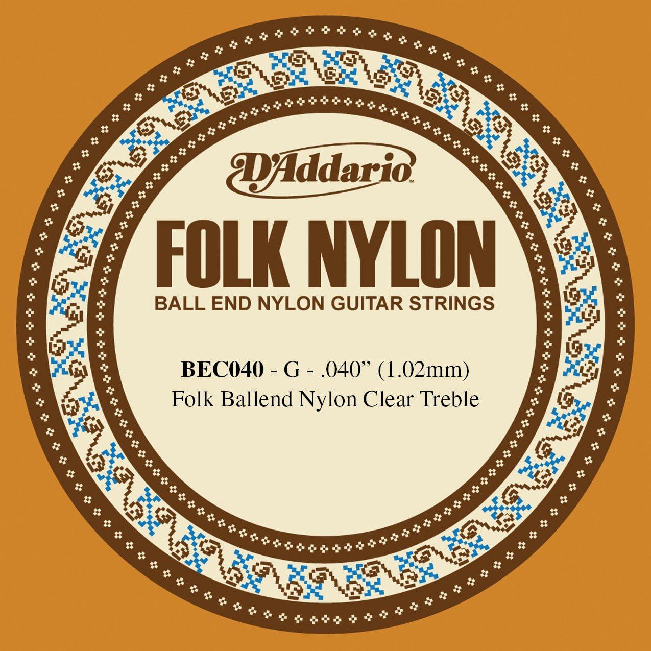 D'Addario BEC040 - Cuerda para guitarra de nylon, 040, extremo de bola