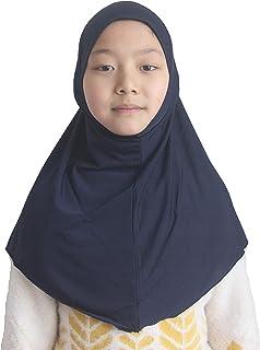 وشاح للرأس للفتيات الصغيرات من حجاب مسلم بألوان ثابتة لمدة 7-12 عامًا جاهزة للارتداء