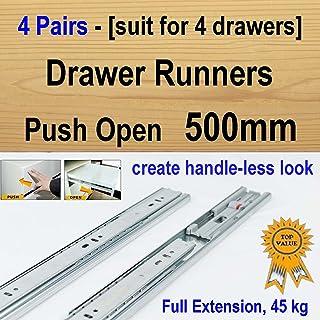 4 pairs push open ball bearing drawer runners / Slides Kitchen Vanity - 500mm