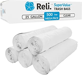 Reli. SuperValue 16-30 Gallon Trash Bags (500 Count Bulk) Clear Garbage Bags 30 Gallon Strength (16 Gallon, 20 Gal - 30 Gallon Garbage Bag Capacity)