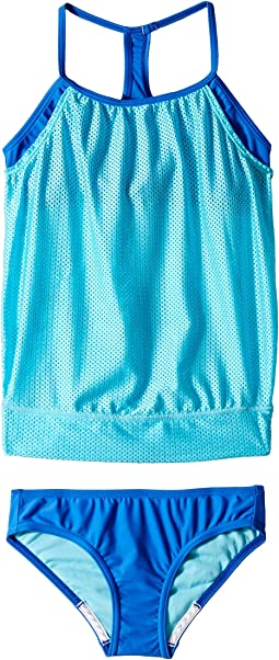 Blouson Tankini Two-Piece Swimsuit Set (Big Kids)