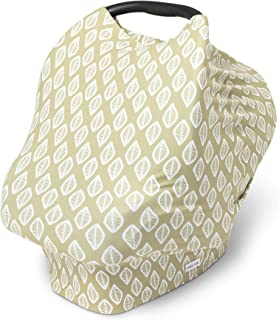 Baby Car Seat Canopy - Infant Nursing Cover - 4 in 1 Multi Use - Infant Breastfeeding Accessories - Ultra Soft and Stretchy - Modern Prints (Olive Leaf)