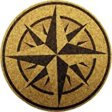 XL Coasters Nautical Compass Rose (9 Inch) – Oversized cork absorbent drink coaster