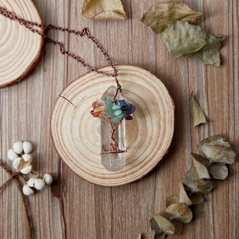 Hicarer 3 Pieces Tree Life Pendant Tree Life Quartz Crystal Pendant Necklace Chakra Gemstone Copper Wire Wrap Necklace