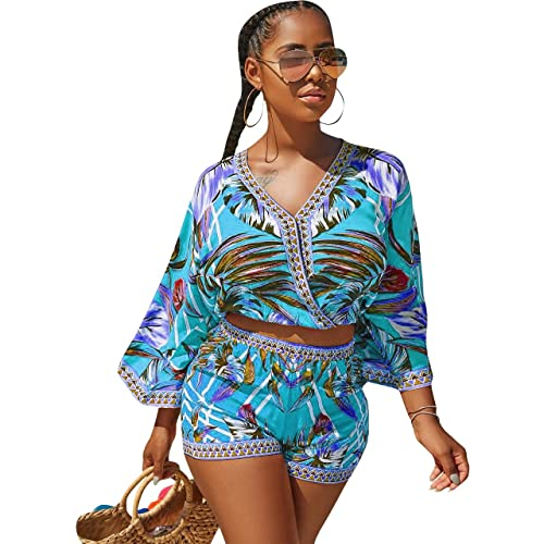 163f92e22b7 Women s Summer Romper Boho Playsuit African Print Jumpsuits Beach 2 Piece  Outfits Top with Shorts
