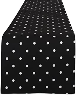 DII Z02026 Reversible Polka Cotton Runner for Dining Room, Barbecues, Foyer Table, Summer Parties, and Everyday Use, 13.75x90, Black Base White Dots