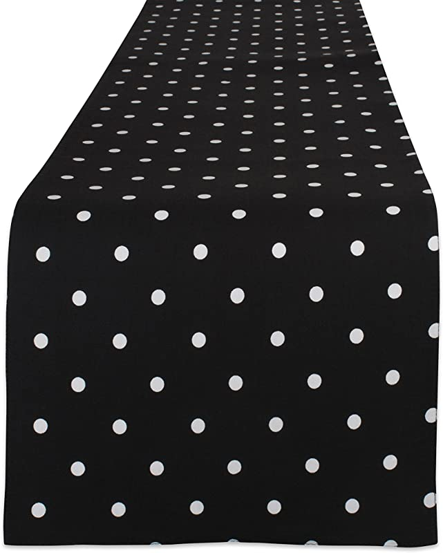 DII Z02043 Reversible Polka Dot Cotton Runner For Dining Room Barbecues Foyer Table Summer Parties And Everyday Use 13 75 X 72 Black Base White
