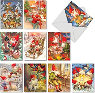 Gnome for the Holidays - 10 Assorted Merry Christmas Note Cards with Envelopes (4 x 5.12 Inch) - Illustrated Xmas and Happy Holiday Notecard Set - Boxed Garden Gnome Family Designs AM6440XSG-B1x10