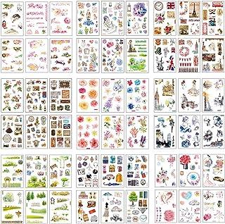 54 Feuilles Scrapbooking Autocollants Créatifs Mignons Animaux Aliments Fleurs Feuilles Plante Cartoon Etiquettes Auto-adh...