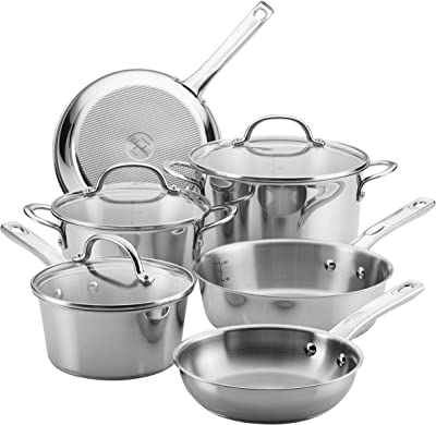 Ayesha Curry Home Collection Stainless Steel Cookware Pots and Pans Set, 9 Piece