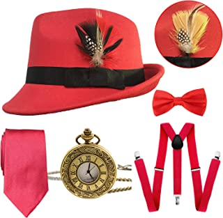 1920s Mens Gatsby Costume Accessories,Manhattan Fedora Hat w/Feather,Vintage Pocket Watch,Suspenders,Pre Tied Bow Tie,Tie