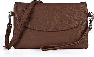 Full Grain Leather Wristlet Clutch Wallet Phone Crossbody Wallet Purse with Detachable Shoulder Strap