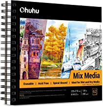 """Mix Media Pad, Ohuhu 8.9""""×8.3"""" Mixed Media Art Sketchbook, 120 LB/200 GSM Heavyweight Papers 62 Sheets/124 Pages, Spiral B..."""