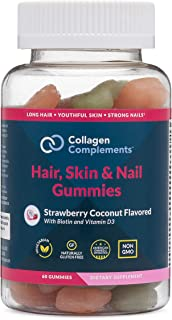 Hair, Skin & Nail Gummies | Vegetarian Gummies | Biotin Vitamin D3 Folic Acid | Strawberry Coconut