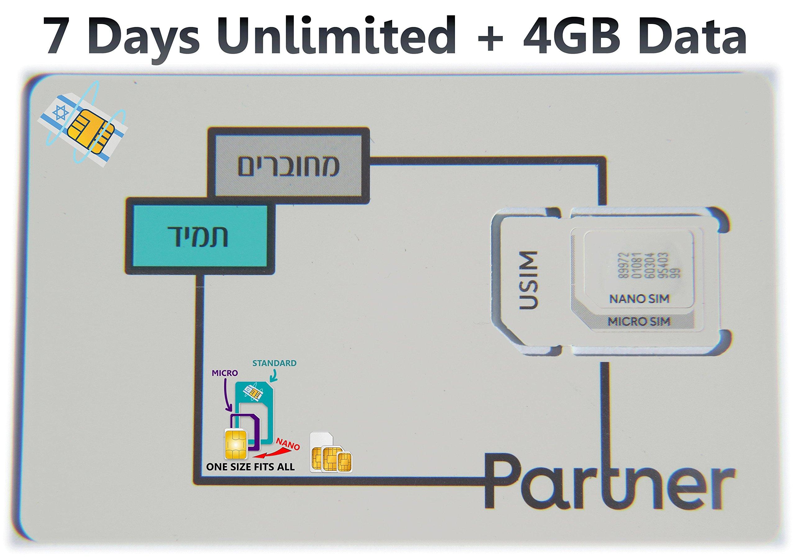 Tarjeta SIM de Israel Prepaid de Orange Partner, incluye 7 días de llamadas ilimitadas y SMS