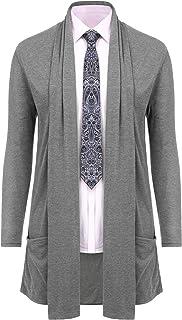 RAGEMALL Men's Cardigan Ruffle Shawl Collar Cardigan Open Front Blend Long Length Drape Cape Overcoat