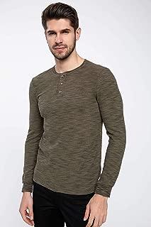 DeFacto Yakası Düğmeli Uzun Kollu Slim Fit T-shirt