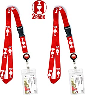 Cruise Lanyard [2-Pack] Lanyards with ID Holder for Cruise Ship Key Cards (Red Heart) - Essentials & Must Have Accessories by Cruise On