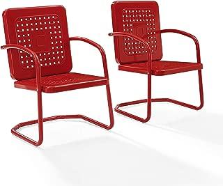 Crosley Bates Retro Metal Chair in Red (Set of 2)