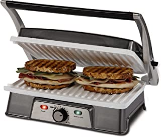 Oster DuraCeramic Infusion Series 2-in-1 Panini Maker and Grill, Charcoal with White Griddles (CKSTPM21WC-IECO)