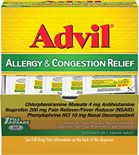 Best Advil allergy & Congestion Relief (50Count Packets), Antihistamine, 200mg Ibuprofen Pain Reliever/Fever reducer & Nasal Decongestant, One Tablet Dose Review