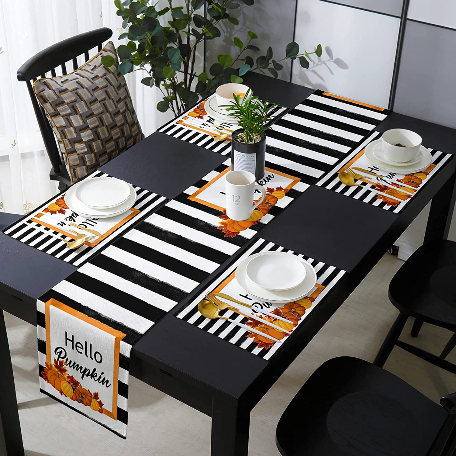 Dining Table Runners Mats Set Thanksgiving of Pumpkins Max 73% OFF Farm Ranking TOP4