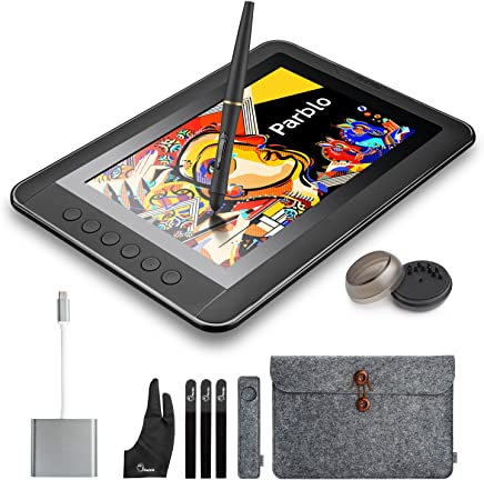 "Parblo Mast10 10.1"" Graphic Tablet Drawing Monitor with Shortcut Keys and Battery-Free Pen Passive Stylus + USB 3.1 Type C Cable Adapter for MacBook"