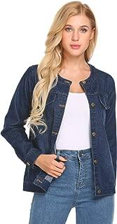 Pinspark Oversized Denim Jacket Distressed Boyfriend Jean Coat Jeans Pocket Jacket for Women Girls