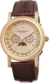 Akribos XXIV Men's Multifunction Moon phase Watch - Stainless Steel Tachymeter Scale Bezel - Matte Luminous Dial - Embossed Alligator Pattern Leather Strap